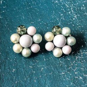 Vintage Bead Cluster Clip On Earrings